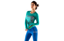 Mons Royale Womens Original Long Sleeve green stripes